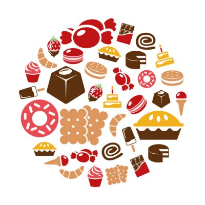 Poster sweets icons in circle