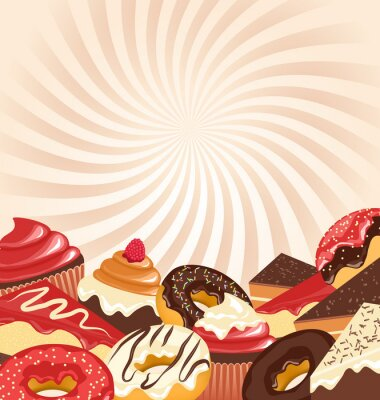 Poster Sweets with radial stripes on beige background