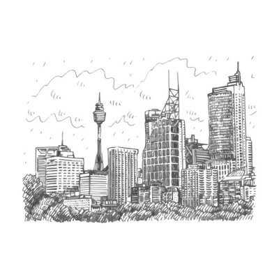 Poster Sydney Tower and skyscrapers view of Sydney, Australia. Vector freehand pencil sketch.
