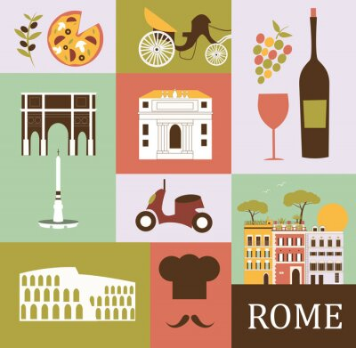 Poster Symbols of Rome. Vector