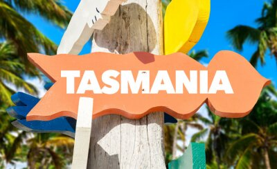 Poster Tasmania welcome sign with palm trees