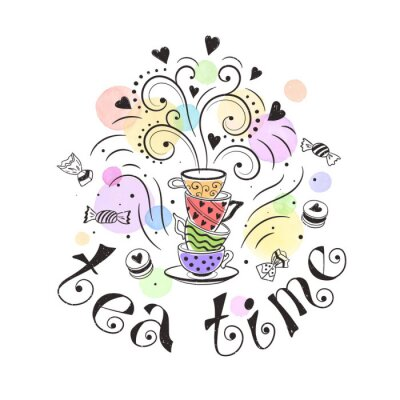 Poster Tea time poster concept. Tea party card design. Hand drawn doodle illustration with teapots, cups and sweets.