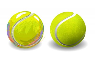 Poster Tennis Ball isolated on white background. All elements are in separate layers and grouped.