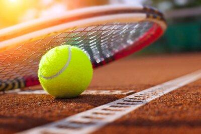 Poster .tennis ball on a tennis court