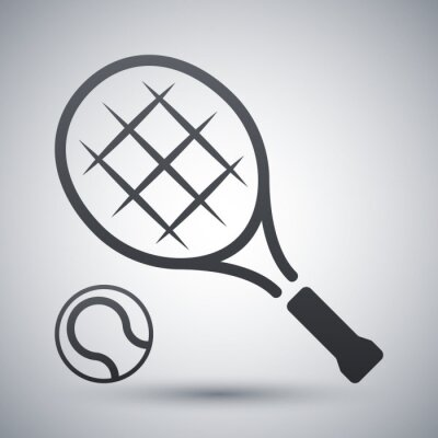 Poster Tennis racket and tennis ball, vector icon