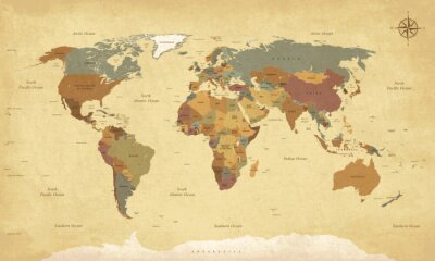 Poster Textured vintage world map - English/US Labels - Vector CMYK
