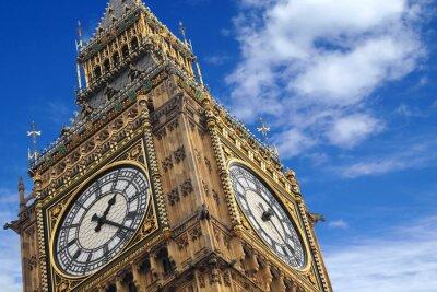 Poster The Big Ben close up on a blue sky, England United Kingdom