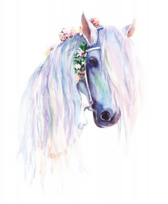 Poster The blue horse with flowers in the mane. Original watercolor painting.