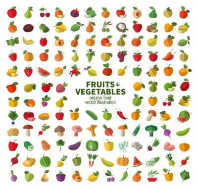 Poster The collection of icons on fruits and vegetables. Fresh food