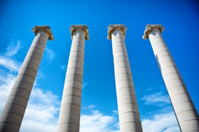 Poster The Four Columns under a blue sky in Catalonia