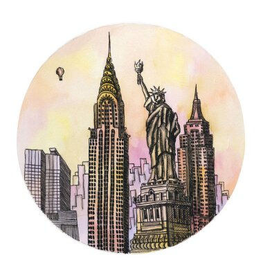 Poster the New York with freedom monument watercolor hand drawing, famouse arhitectural buillding isolated on the white background.