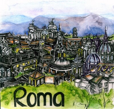 Poster the panoramic view of Roma watercolor of european union