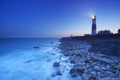 Poster The Portland Bill Lighthouse in Dorset, England at night