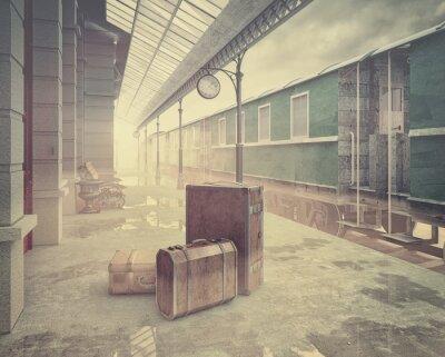Poster  the retro railway  train station