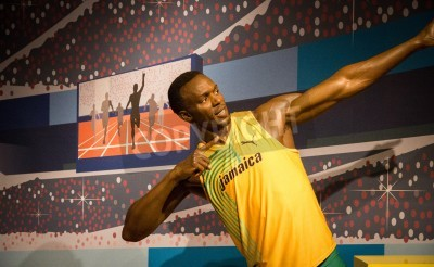 Poster The statue of Usain Bolt at Madame Tussauds in London, 2012