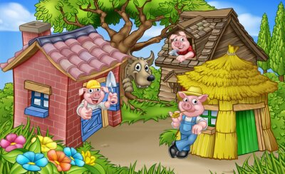 Poster The Three Little Pigs Fairytale Scene