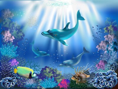 Poster The underwater world with dolphins and plants