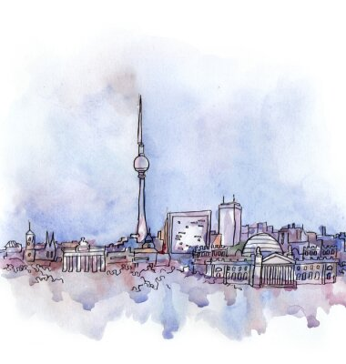 Poster the view of Berlin  watercolor of european union country isolated on the white background