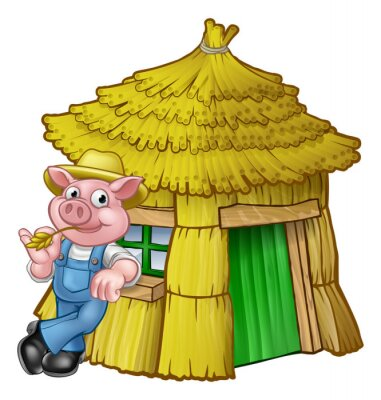Poster Three Little Pigs Fairy Tale Straw House