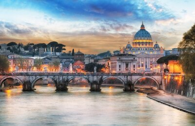 Poster Tiber and St Peter Basilica in Vatican with rainbow, Rome