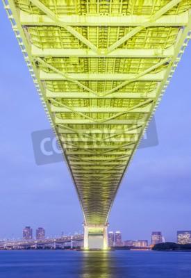 Poster Tokyo bay city and Tokyo rainbow bridge in evening