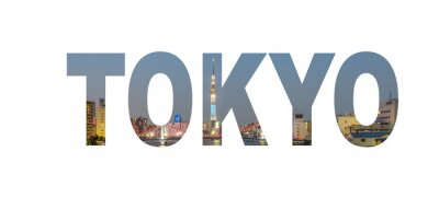 Poster Tokyo City name sign with photo in background. Isolated on white background..