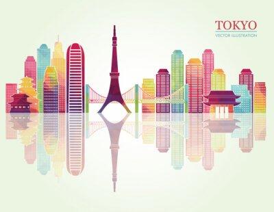 Poster Tokyo detailed skylines. vector illustration