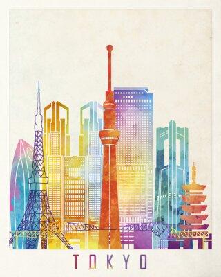 Poster Tokyo landmarks watercolor poster