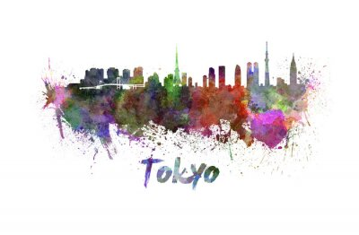 Poster Tokyo skyline in watercolor