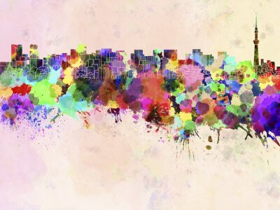 Poster Tokyo skyline in watercolor background