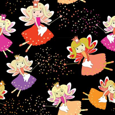 Poster Tooth fairies with magic wands and stars around. Seamless pattern. Vector illustration on black background