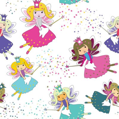 Poster Tooth fairies with magic wands and stars around. Seamless pattern. Vector illustration on white background
