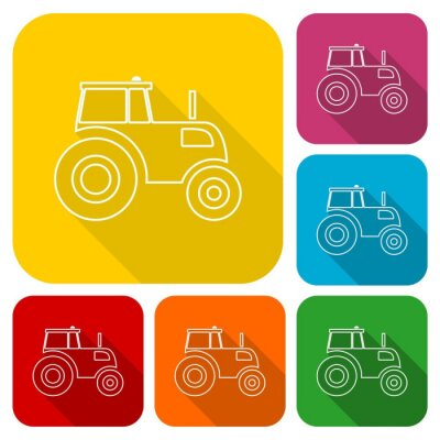 Poster Tractor icons set with long shadow