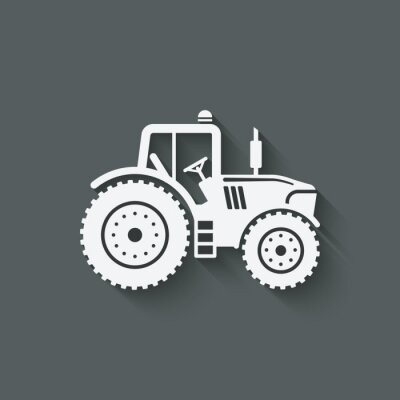 Poster tractor silhouette icon