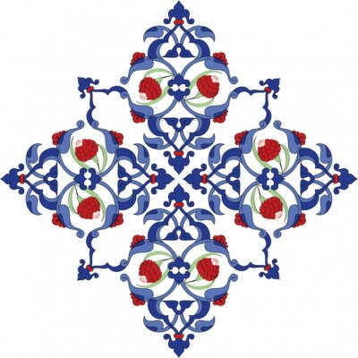 Poster Traditional antique ottoman turkish tile illustration design