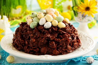 Poster Traditional Easter cake of chocolate with chocolate eggs.