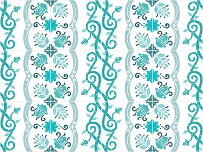 Poster Traditional ornate portuguese and brazilian tiles azulejos in turquoise colors. Vintage pattern. Abstract background. Vector illustration, eps10.