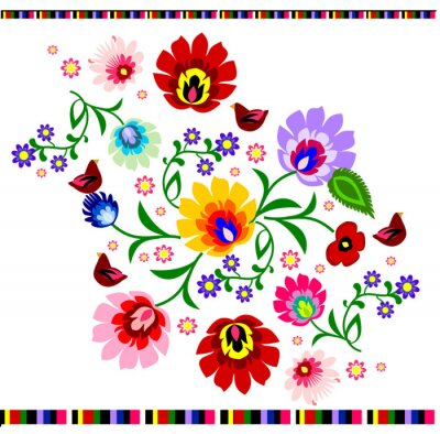 Poster Traditional Polish floral folk pattern vector