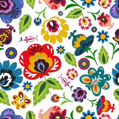 Poster Traditional Polish folk floral pattern vector