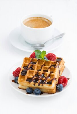 Poster traditional sweet waffles and espresso
