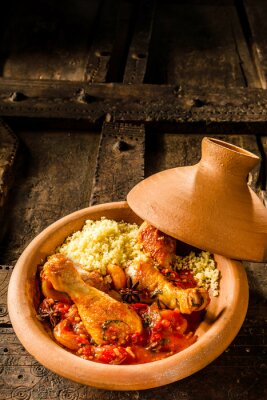 Poster Traditional Tajine Dish with Chicken and Couscous