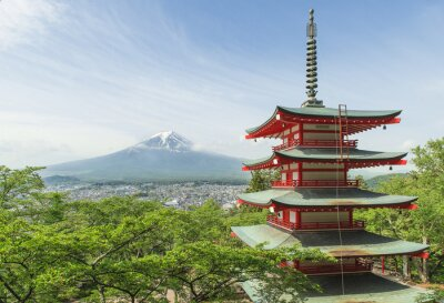 Poster Travel destination - Mt. Fuji with red pagoda in Spring, Fujiyos