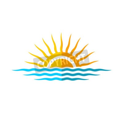 Poster Travel logo template. Sun with sea waves.