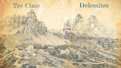 Poster Tre Cime di Lavaredo in Dolomites, Italy, sketch on paper