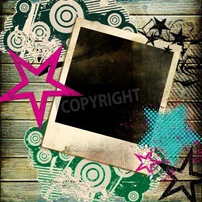 Poster trendy retro background  with instant frame