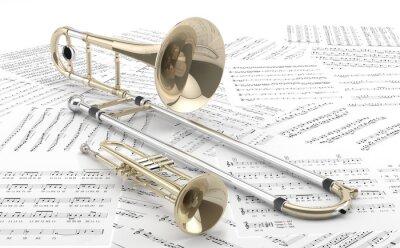 Poster Trombón y Trompeta sobre partituras 2
