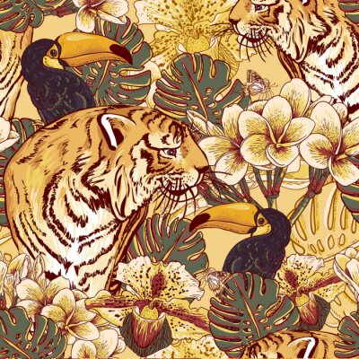 Poster Tropical floral seamless background with Tiger