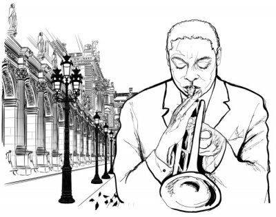 Poster Trumpet player in Paris