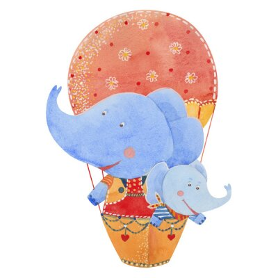 Poster two elephants fly in a balloon, watercolor illustration