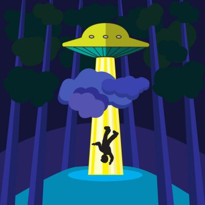 Poster UFO abducts a person